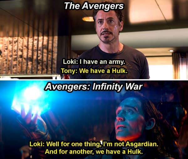 Tony menjawab Loki & # x27; s & quot; Saya punya tentara, & quot;  dengan & quot; Kami memiliki Hulk, & quot;  di The Avengers dan Loki mengatakan, & quot; Dan untuk yang lainnya, kami memiliki Hulk, & quot;  dalam Infinity War