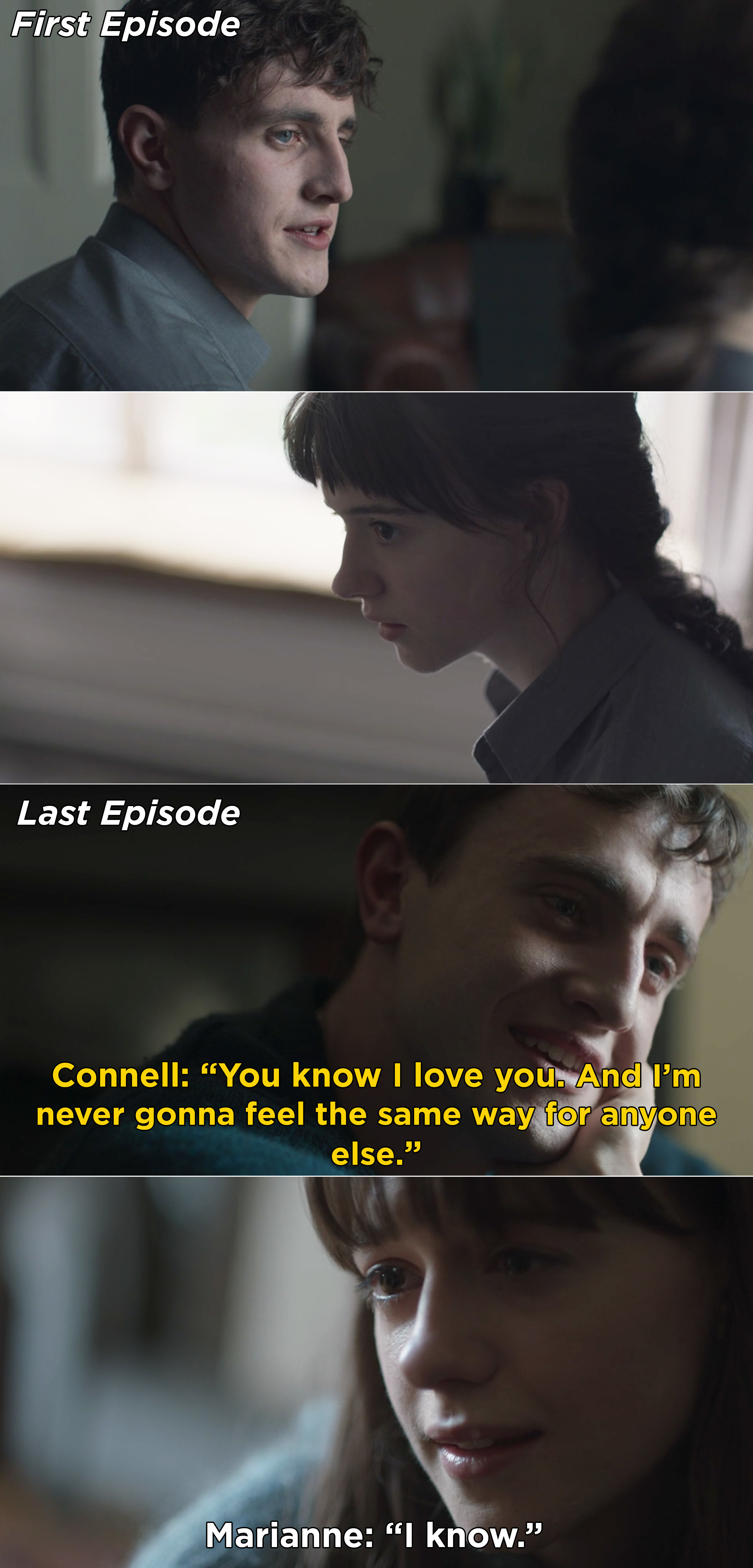 Connell and Marianna looking at each other, and Connell saying that he will always love her