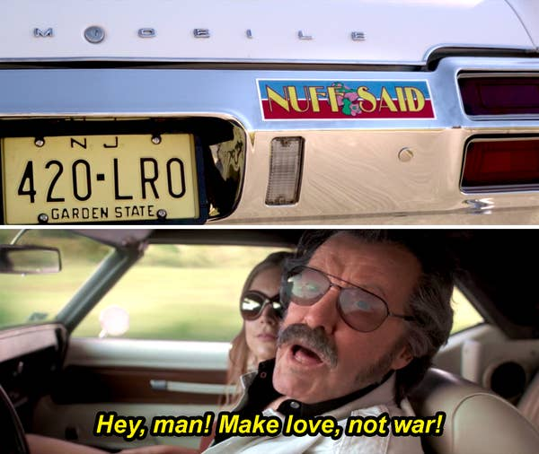 "A younger Stan Lee driving a car with a ""Nuff said"" bumper sticker and yelling, ""Hey, man! Make love, not war!"""