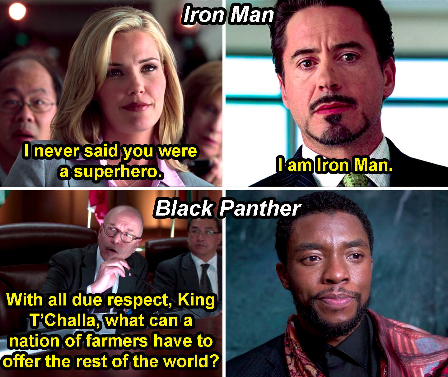 "Tony Stark saying, ""I am Iron Man,"" in response to a dismissive reporter and T'Challa just smiling in response to a man asking, ""With all due respect, King T'Challa, what can a nation of farmers have to offer the rest of the world?"""