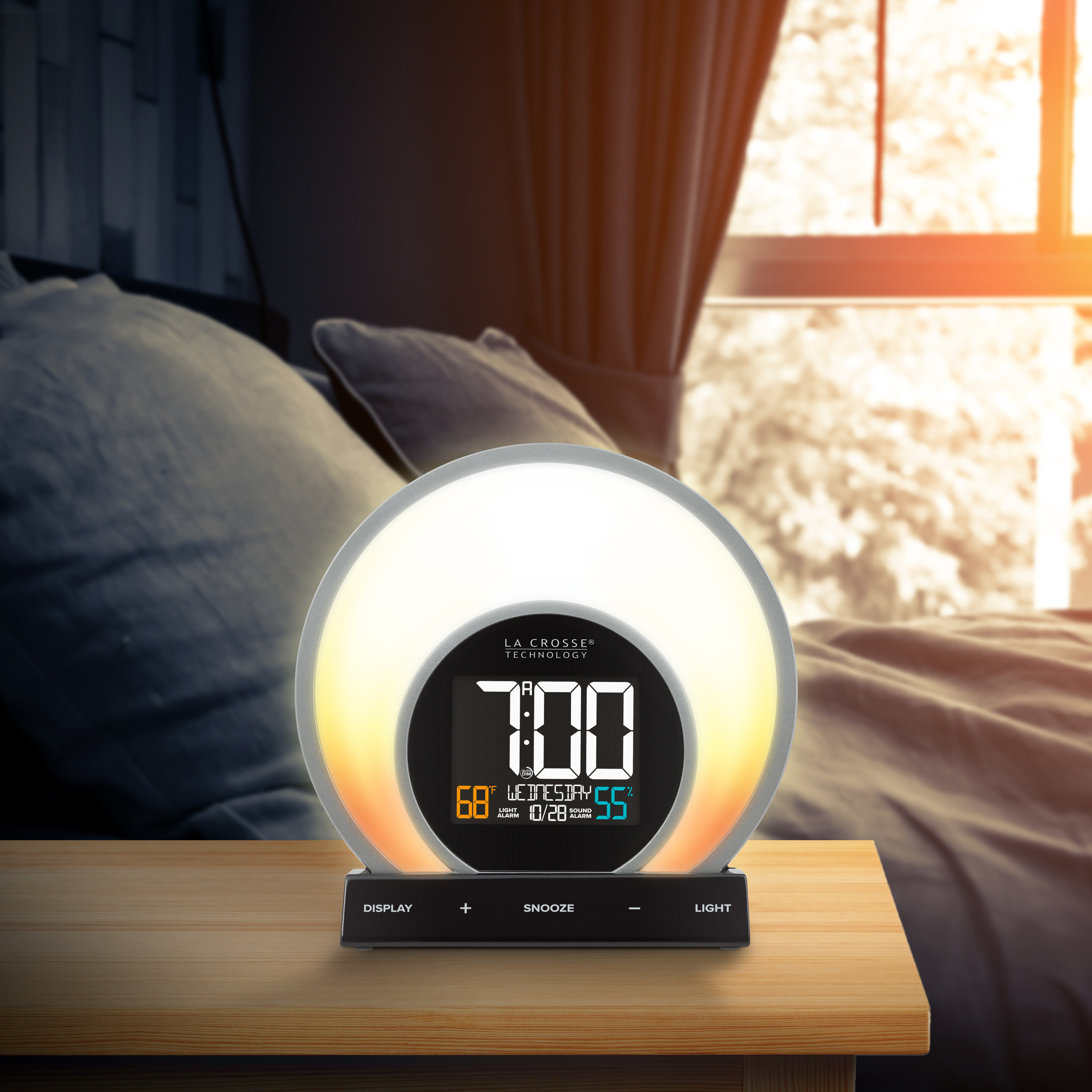 The alarm clock with a glow