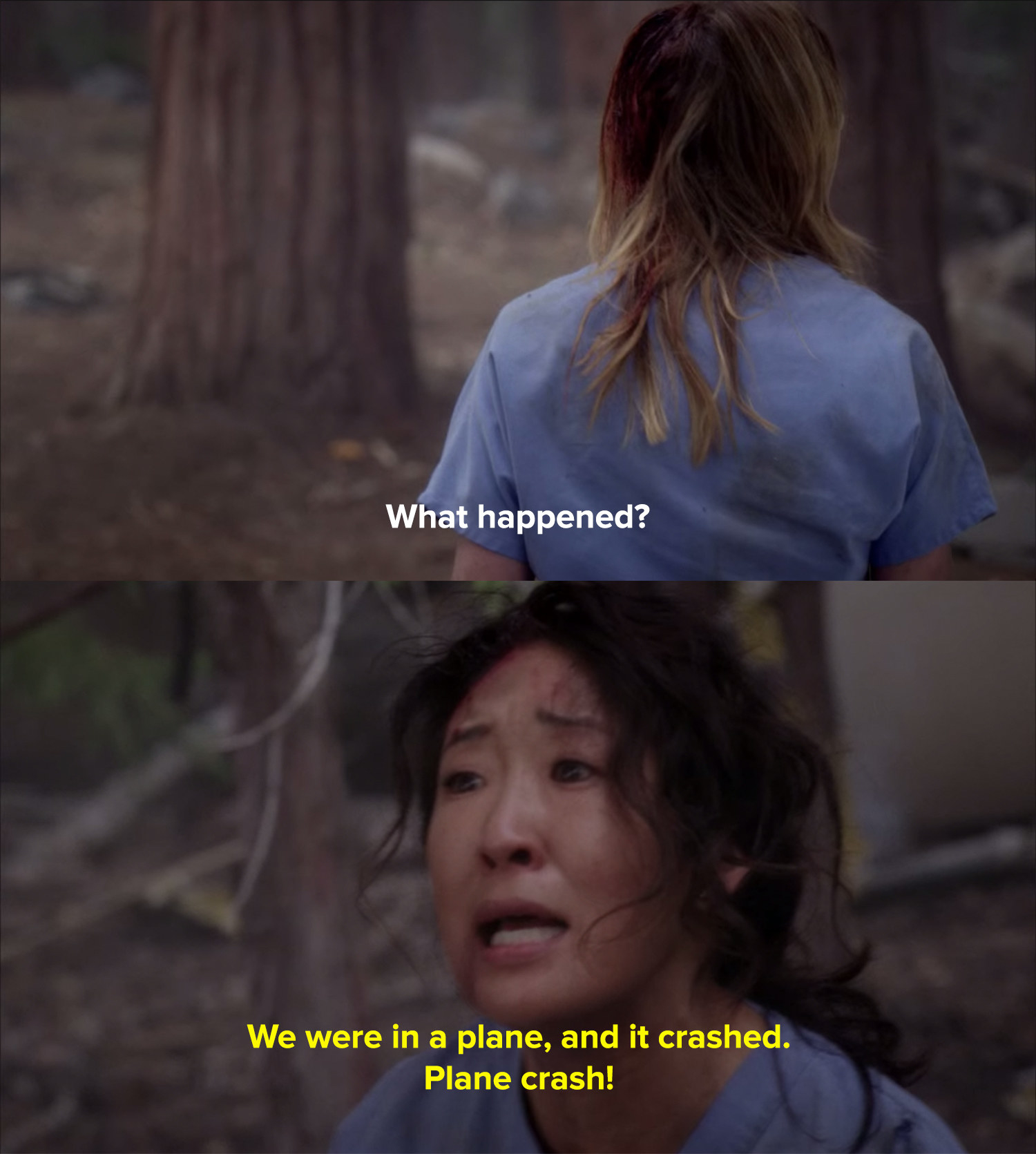 Christina and Meredith are stranded in the woods, bleeding
