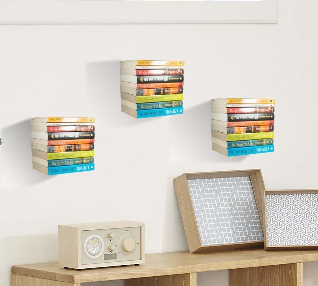 A set of invisible bookshelves