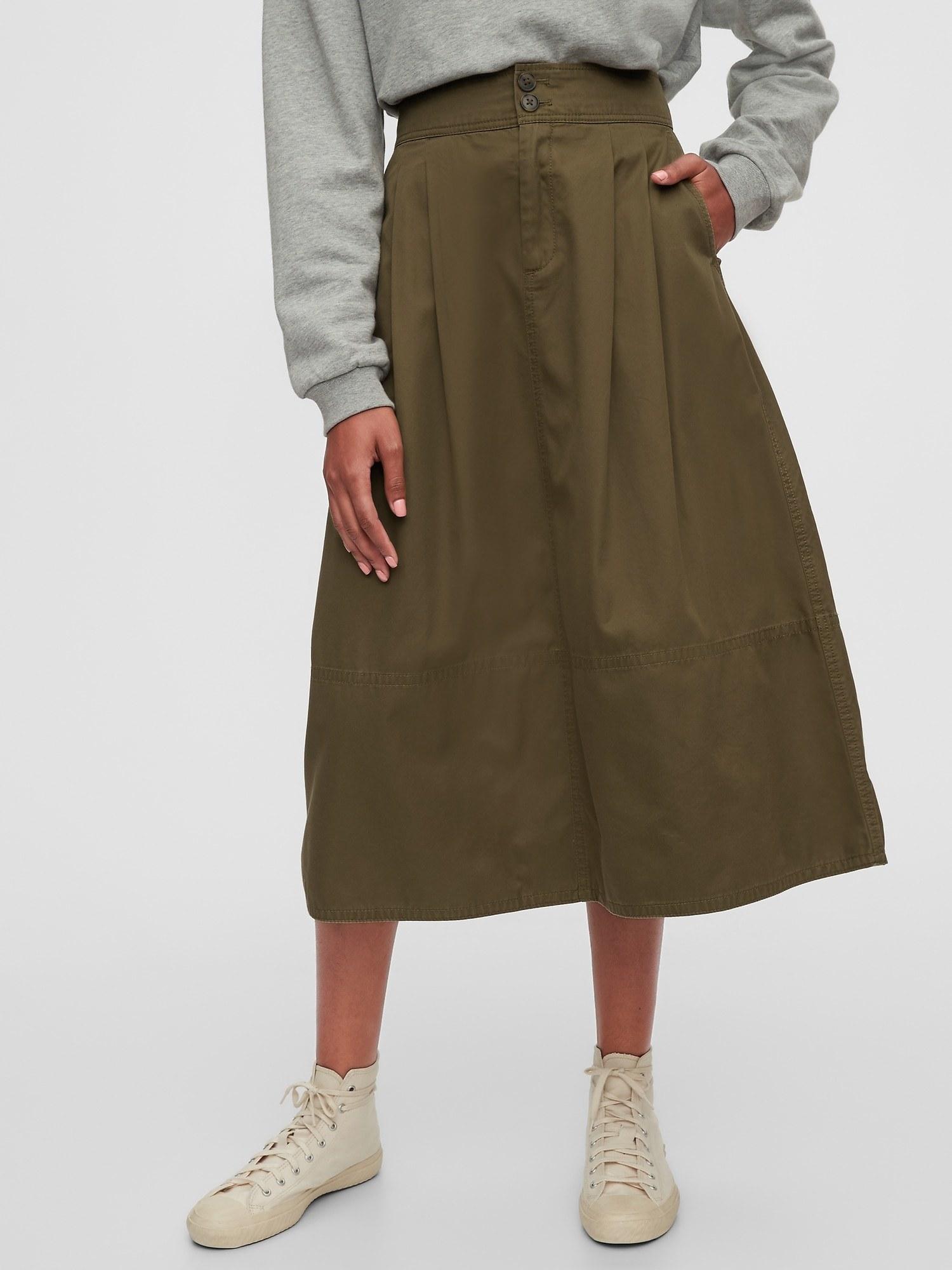The olive green skirt