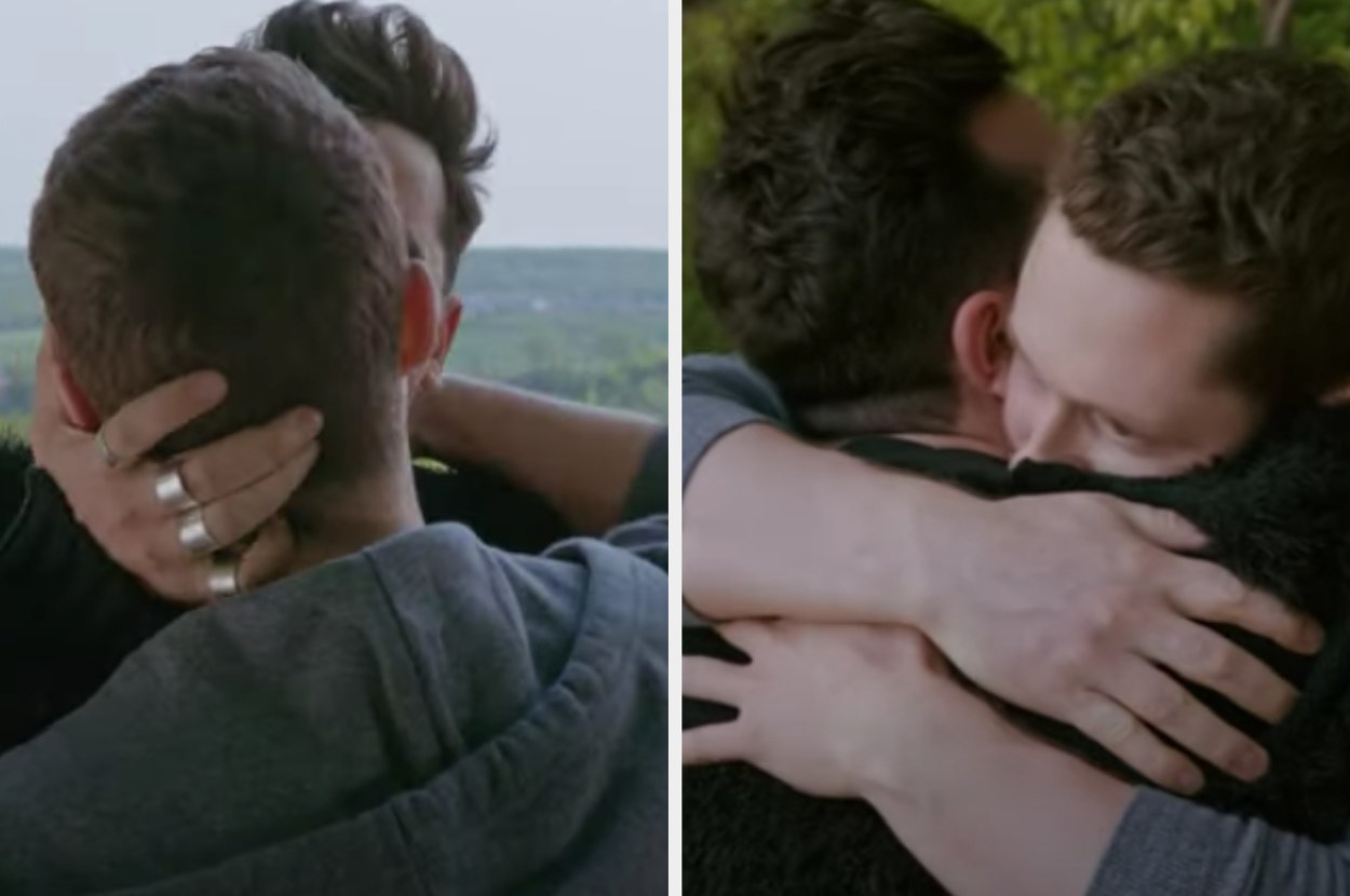 David and patrick from schitts creek kiss and hug