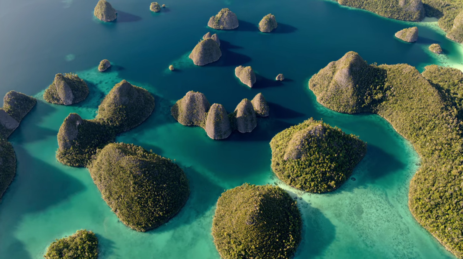 Aerial shot of archipelago with crystal clear waters.