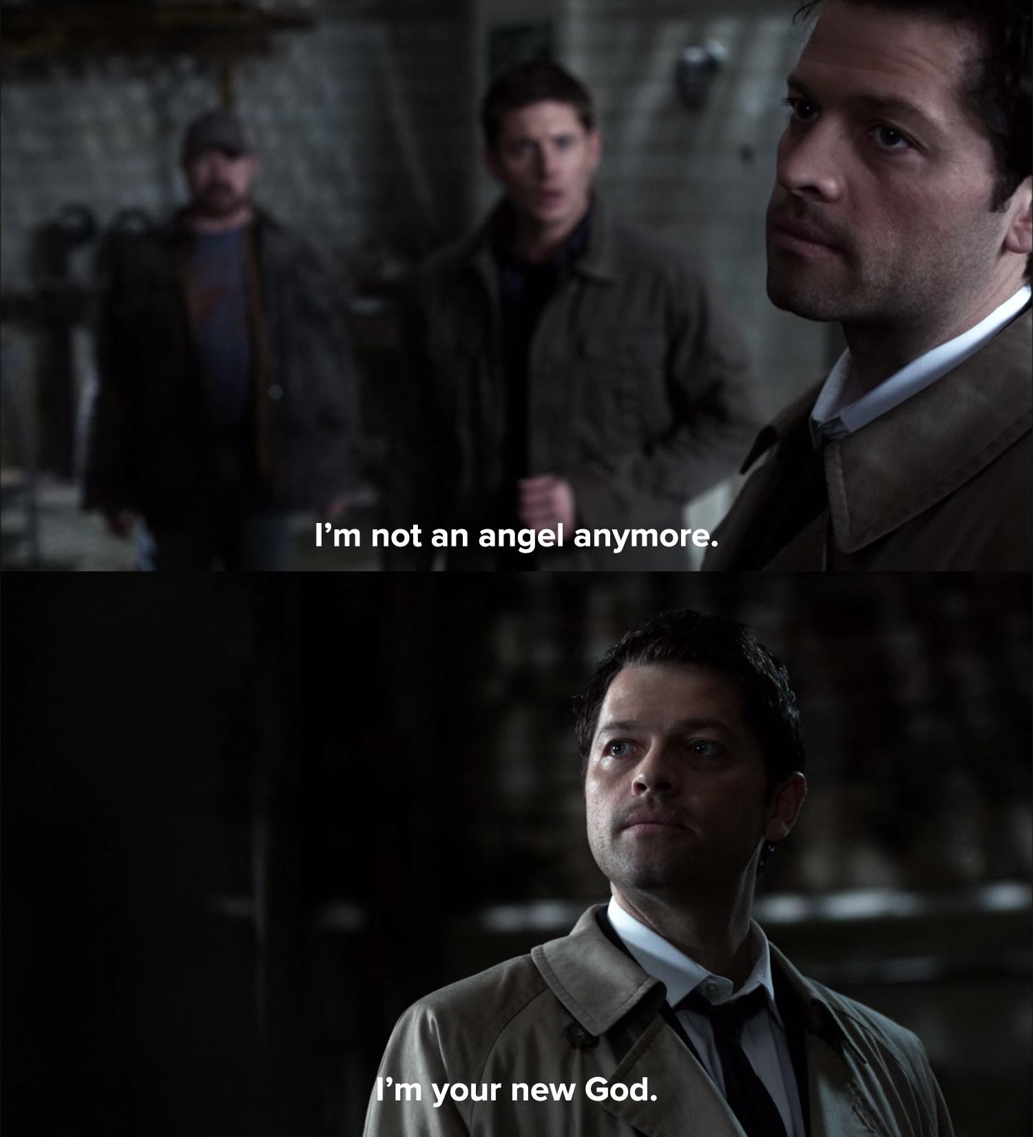 Castiel tells Dean he isn't an angel anymore