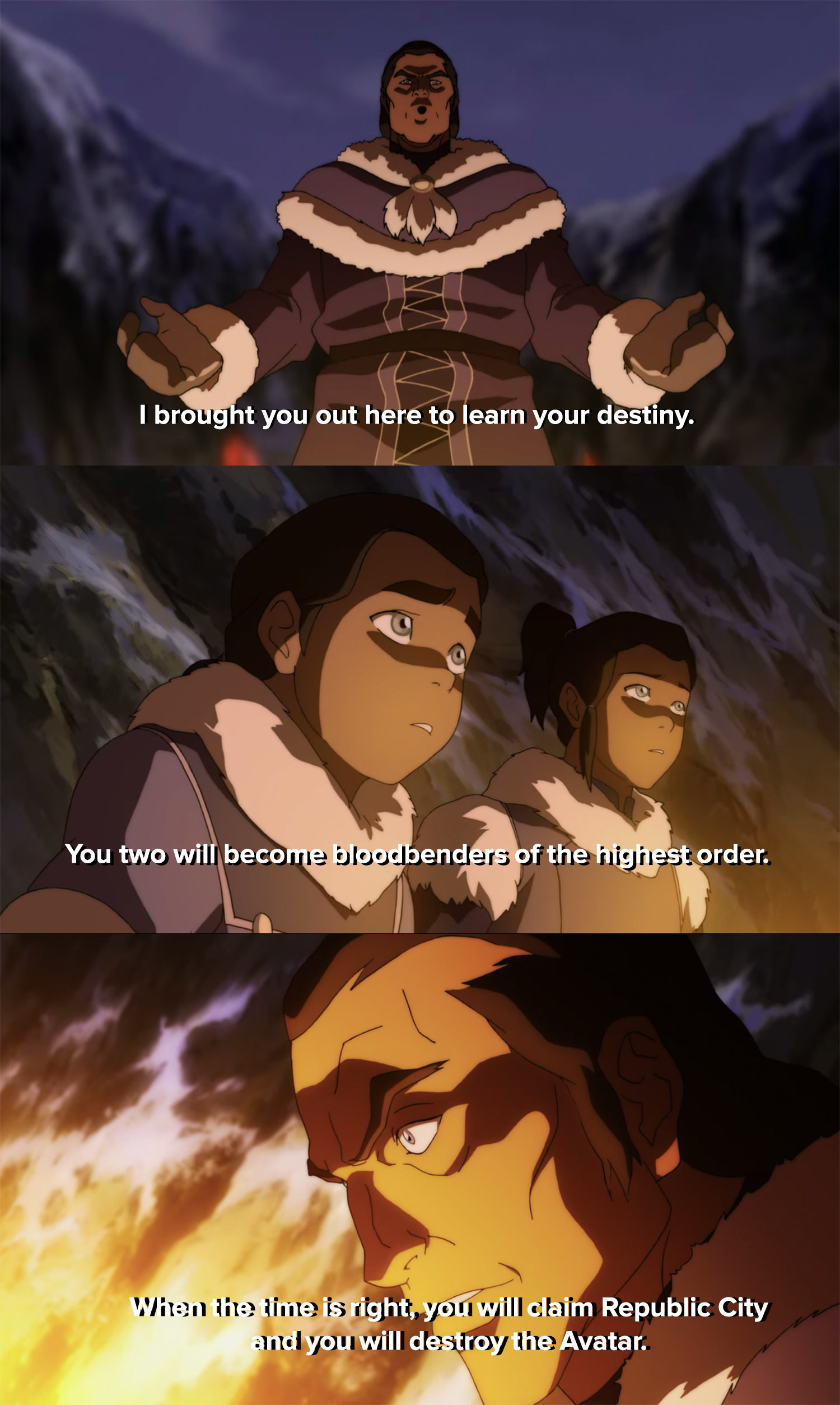Amon's father tells him and his brother that they're destined to become bloodbenders and destroy the Avatar