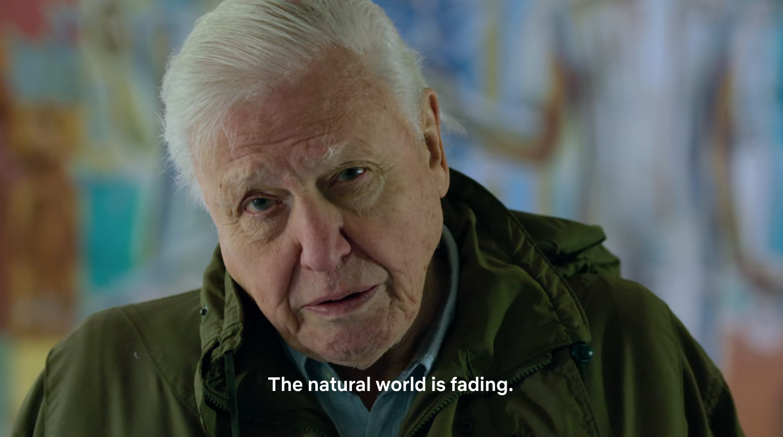 """Close up shot of David Attenborough with caption: """"The natural world is fading."""""""