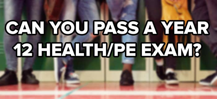 """Blurred shot of a group of unrecognisable students hanging out together by the lockers; the image is captioned: """"Can You pass A Year 12 Health/PE Exam?"""""""