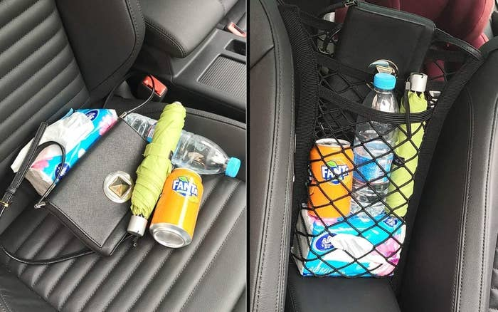 A mess of items on a car seat and the same stuff in an organizer