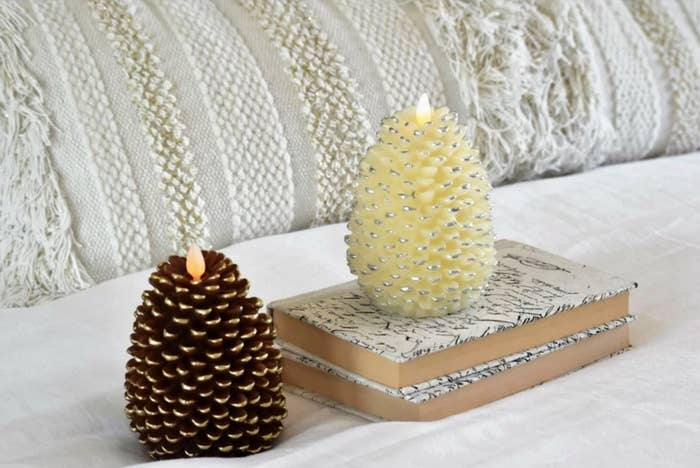 The LED pine scented candles in brown and white