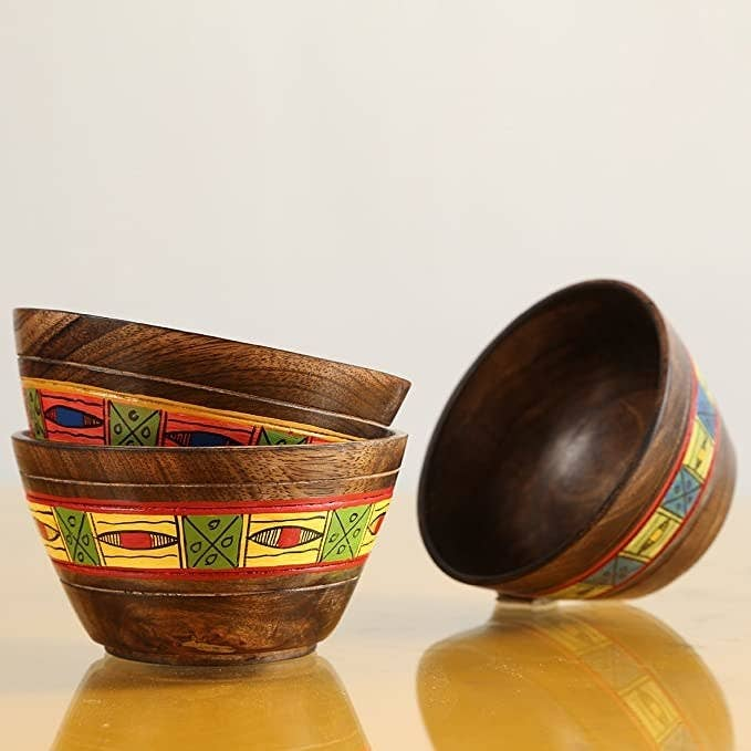 Wooden bowls with an ethnic print.