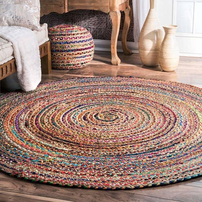 circular jute rug, multicoloured