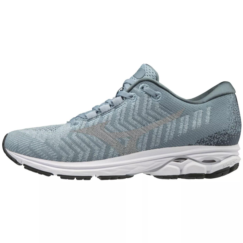A light blue running shoe