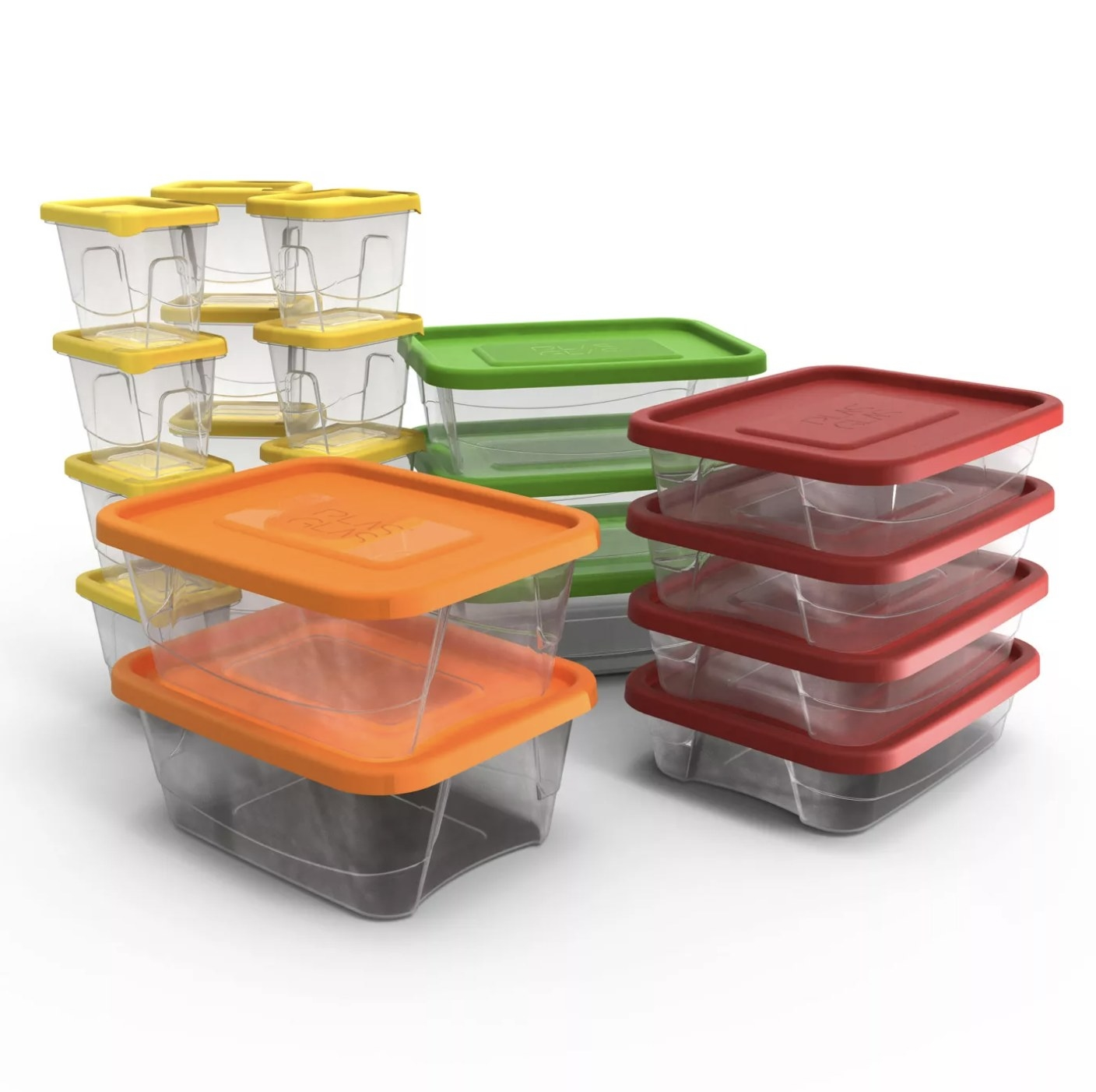 Lunch containers stacked in various sizes and colored lids