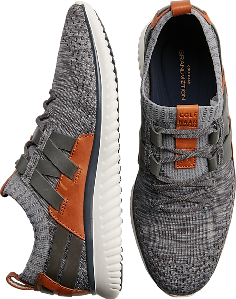 Cole Haan GrandMØtion lace up shoes in gray/orange