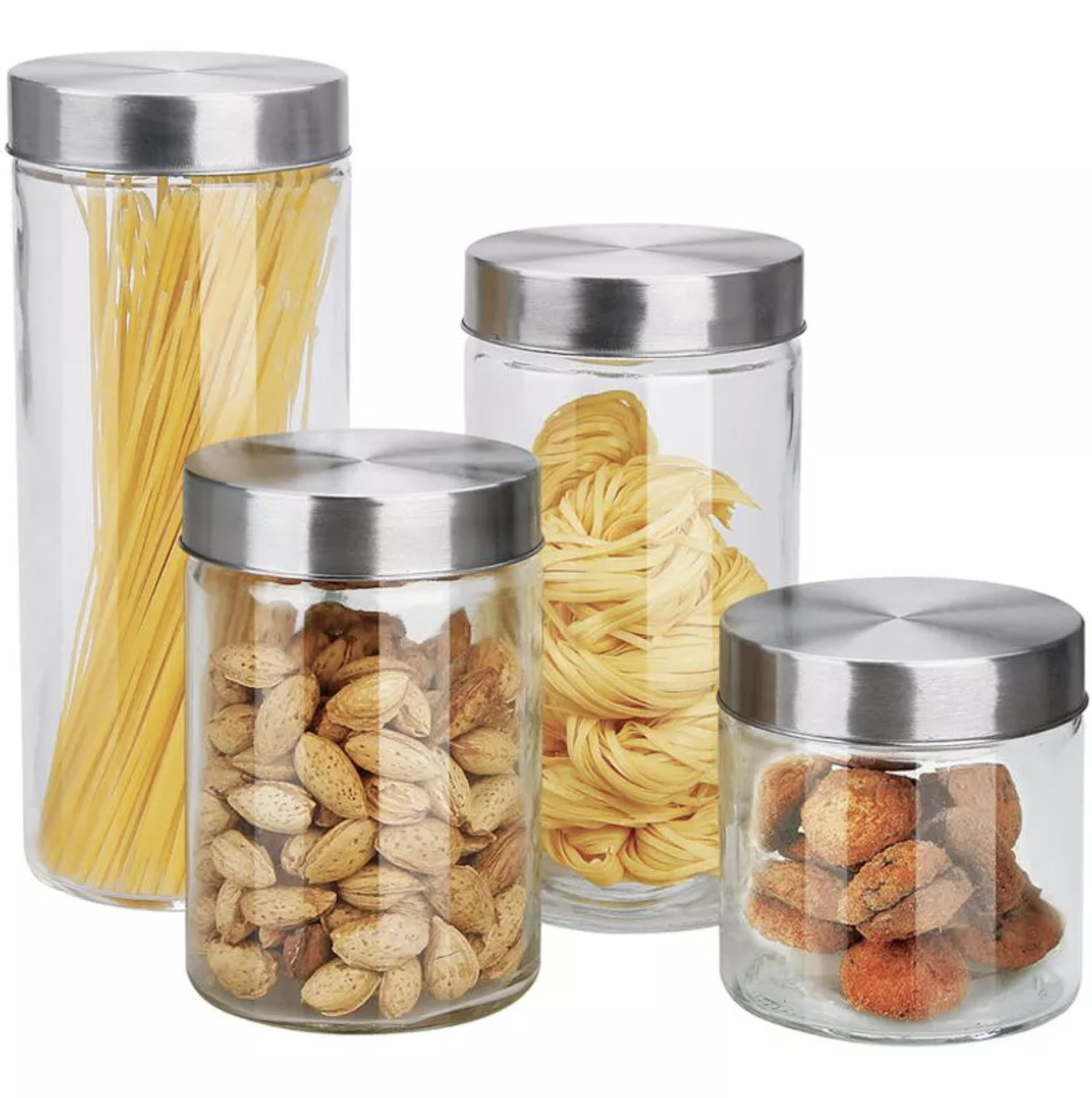 Four canisters with stainless steel lids and food inside