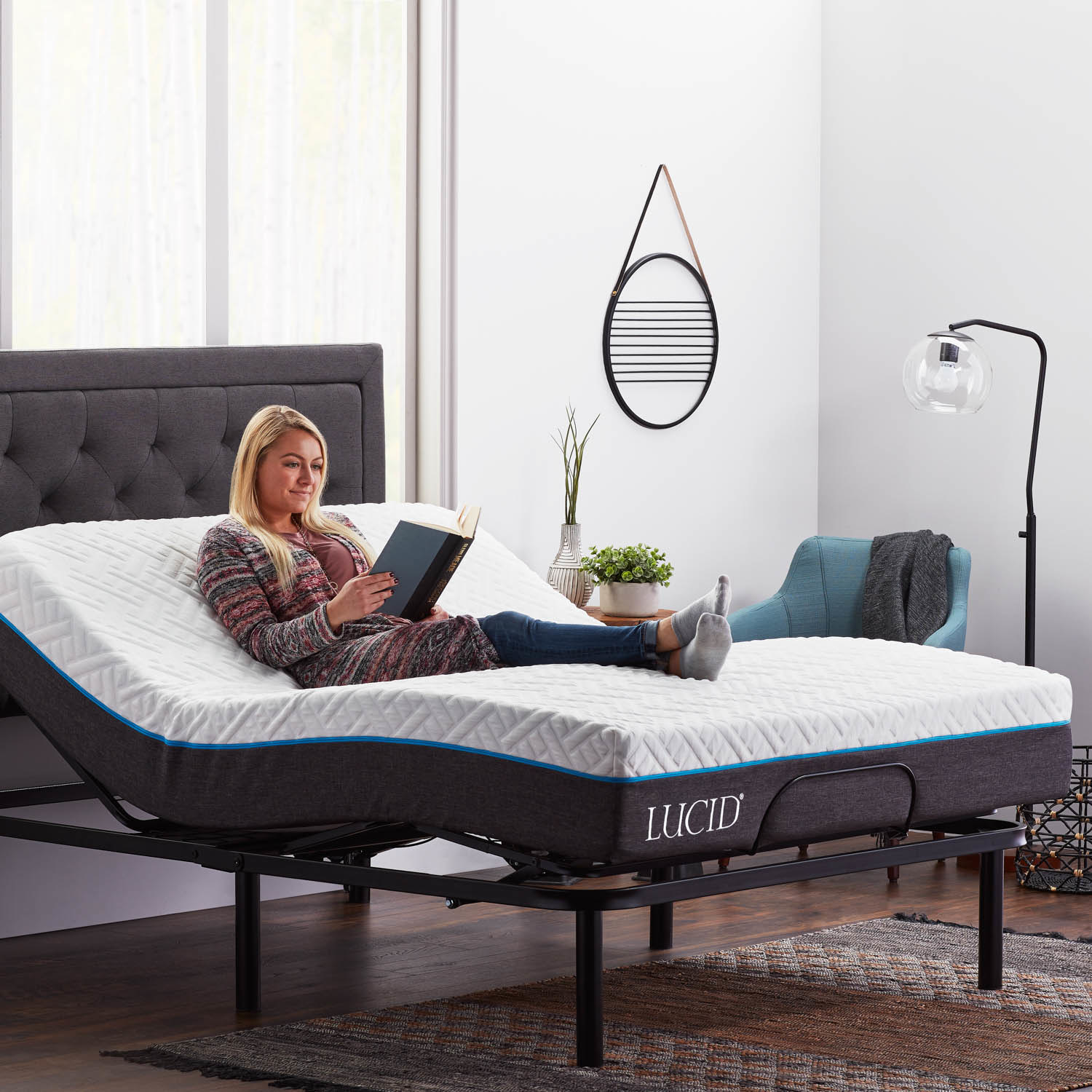 The adjustable bed in use