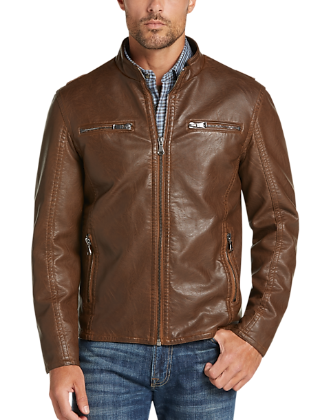 model wearing Pronto Uomo moto jacket