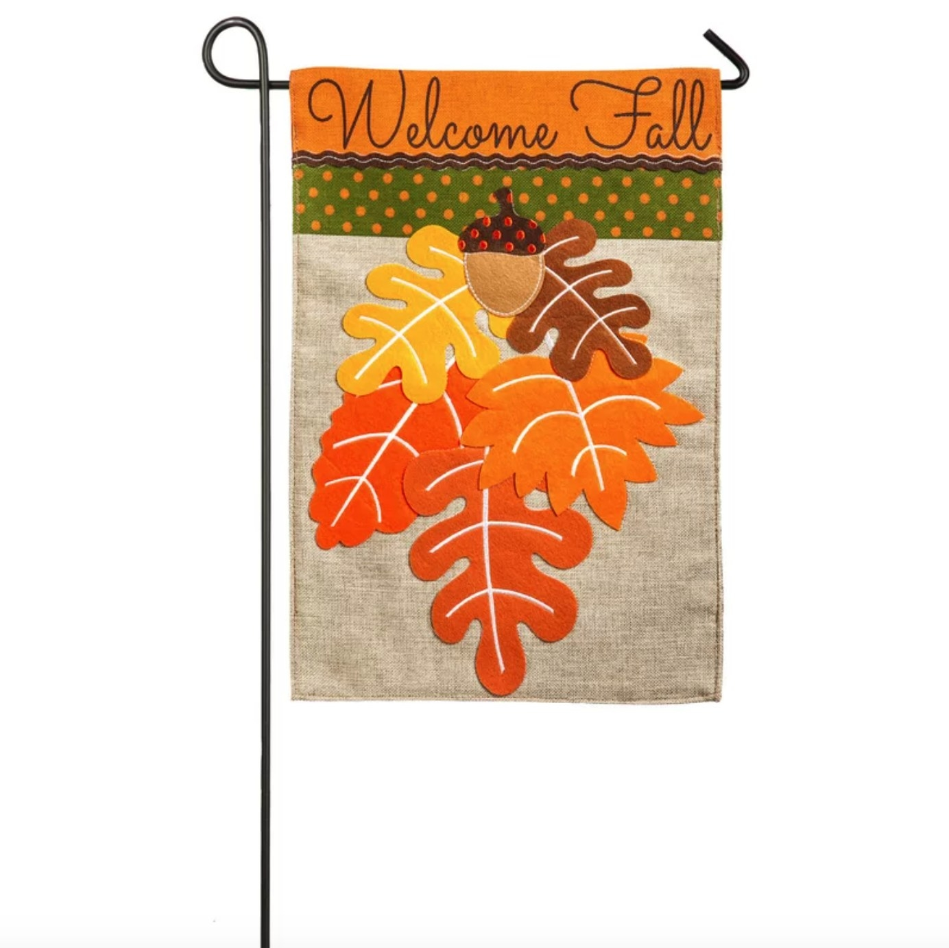 The garden flag featuring fall colored leaves and a welcome fall script