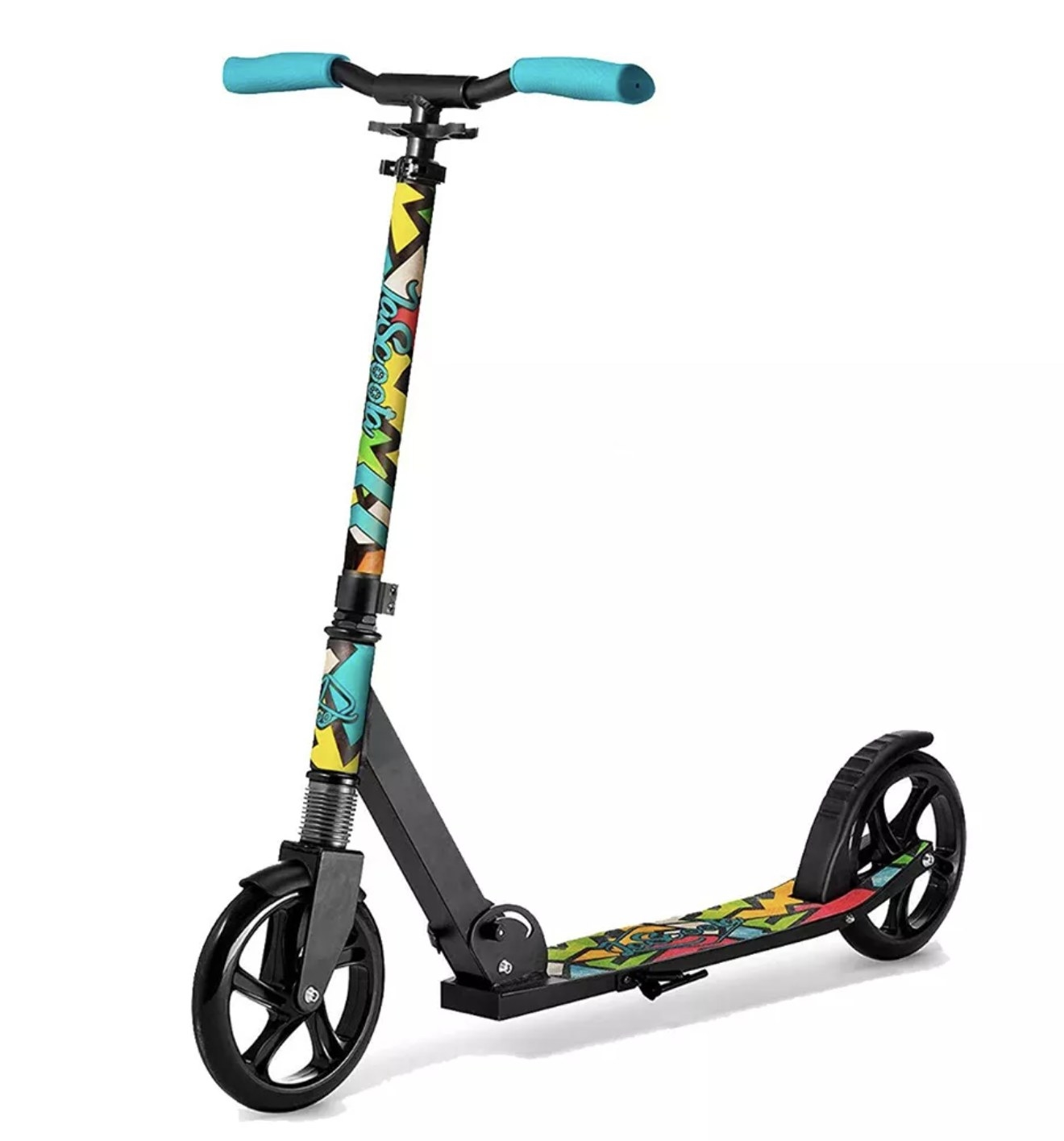 A multi-colored kid's scooter
