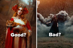 Woman in rose crown holding a fox in the woods next to a woman in black casting a spell in the woods surrounding by smoke