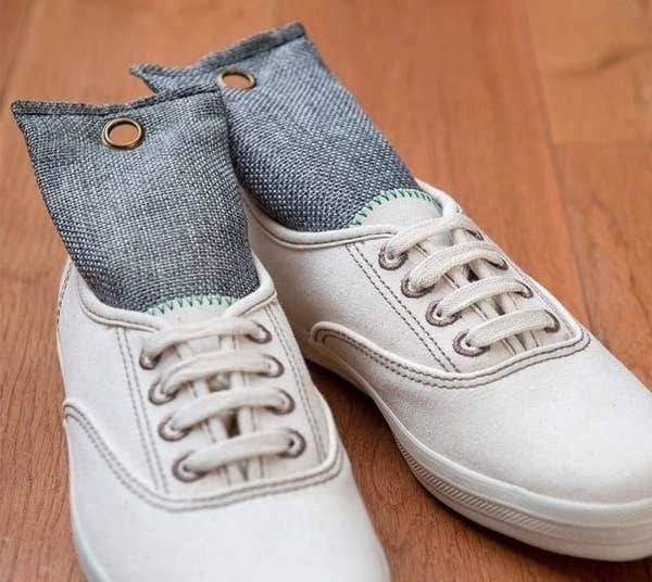 A pair of shoes with the shoe deodorizers inside them