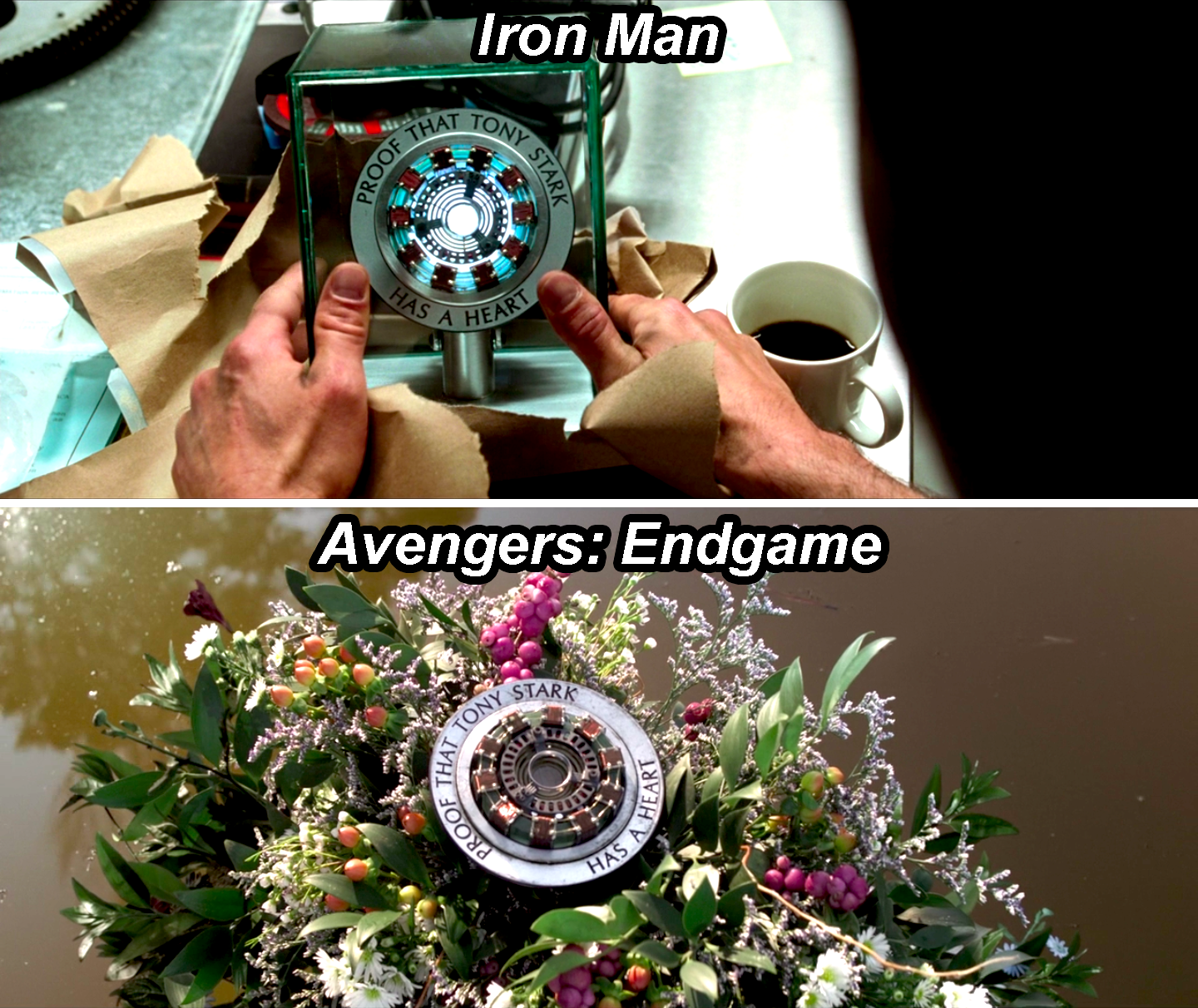 "The arc reactor with an engraving that says, ""Proof that Tony Stark has a heart,"" first lit and in a glass box in Iron Man, and then unlit and resting on a bouquet in Endgame"