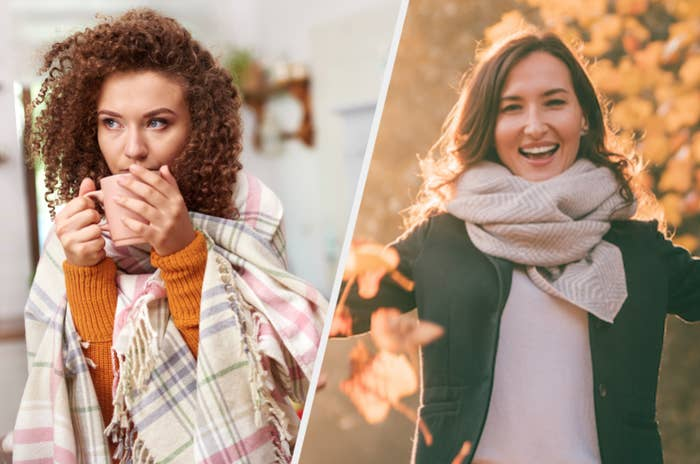 Woman in fall clothes drinking tea and woman throwing fall leaves