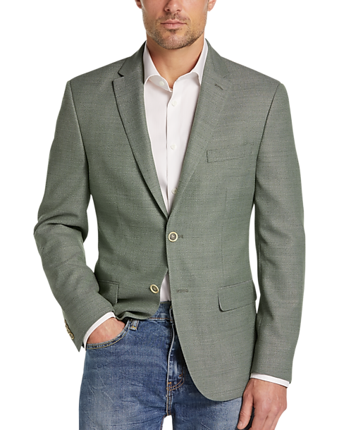 model wearing Tommy Hilfiger modern fit sport coat in green