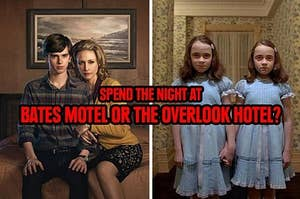 Norman Bates and his mother and the Shining twins inviting you to their hotels