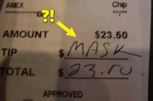 """有人字当头,""""掩盖""""在餐馆检查的顶部部分"""