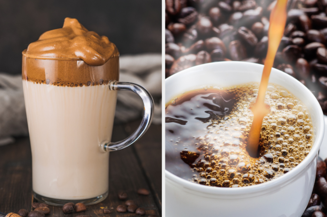 Whipped coffee in a glass and hot coffee poured into a mug