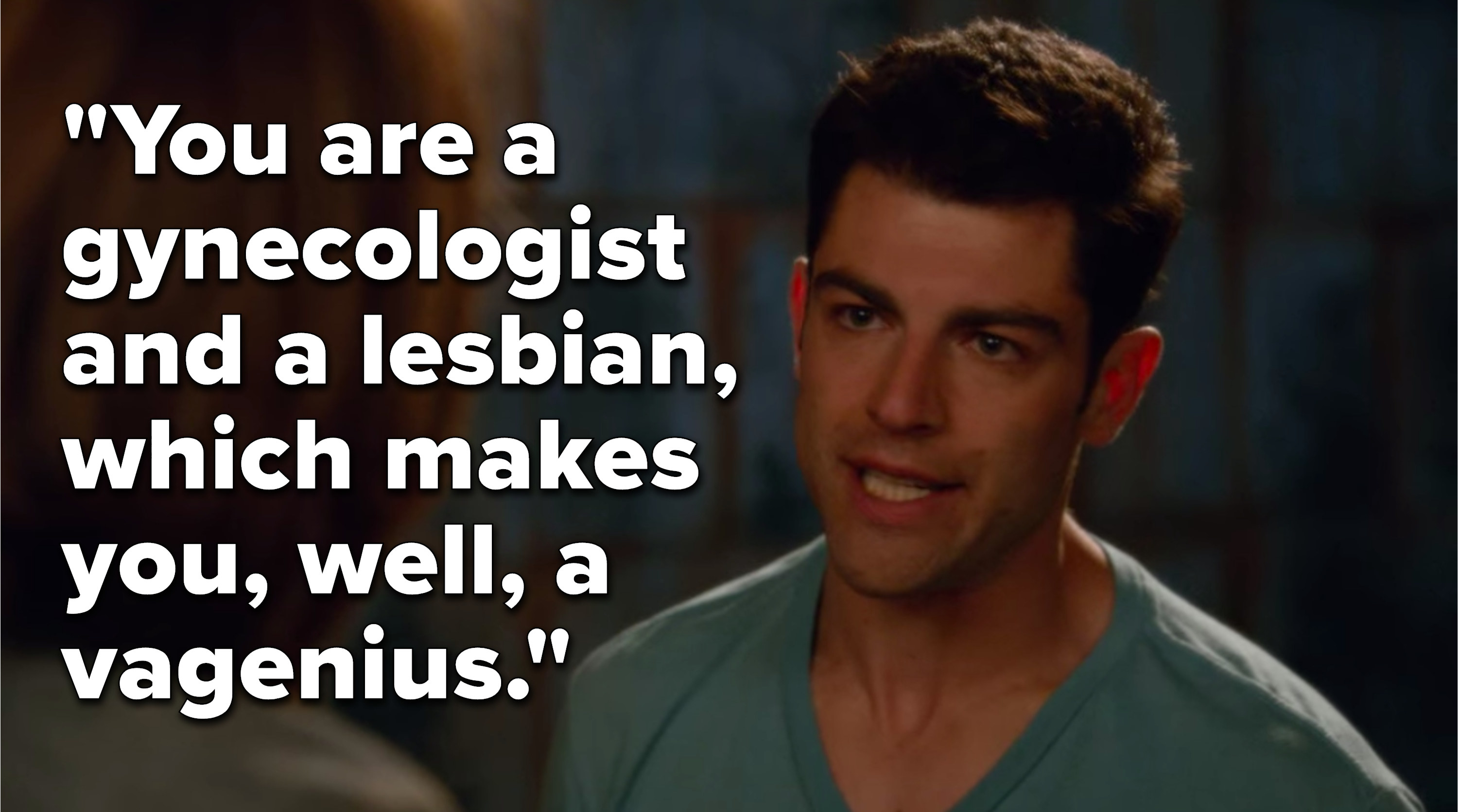 """Schmidt saying, """"You are a gynecologist and a lesbian, which makes you, well, a vagenius"""""""