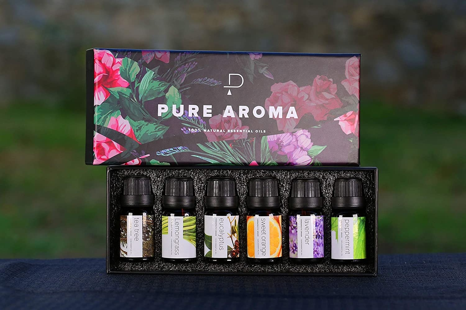 An open pack of essential oil bottles