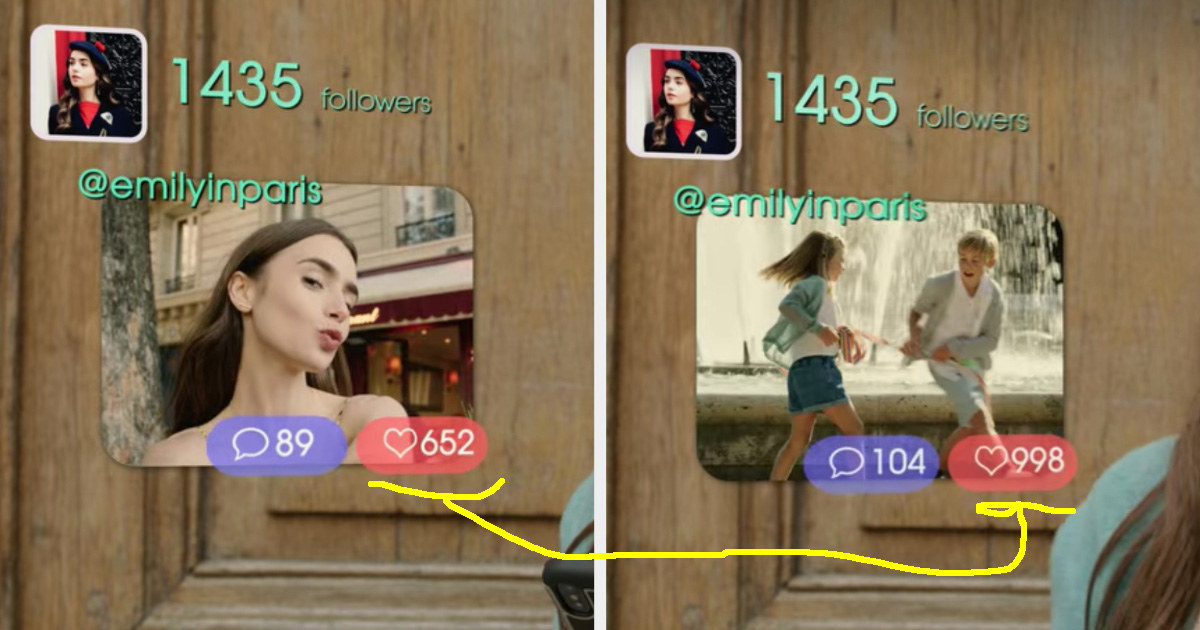 Emily's selfies having less likes than a photo of random children she posted