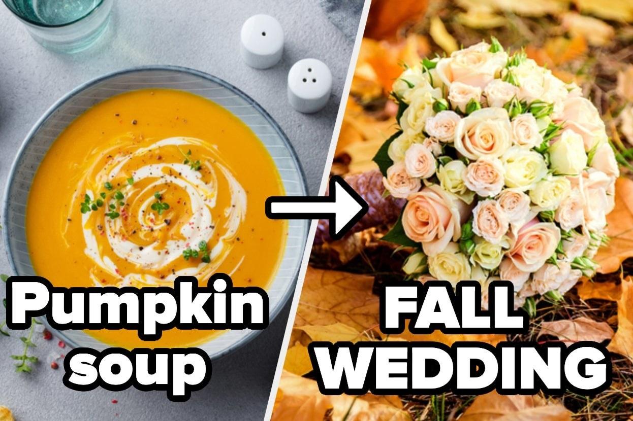 Pumpkin soup and fall wedding floral arrangement