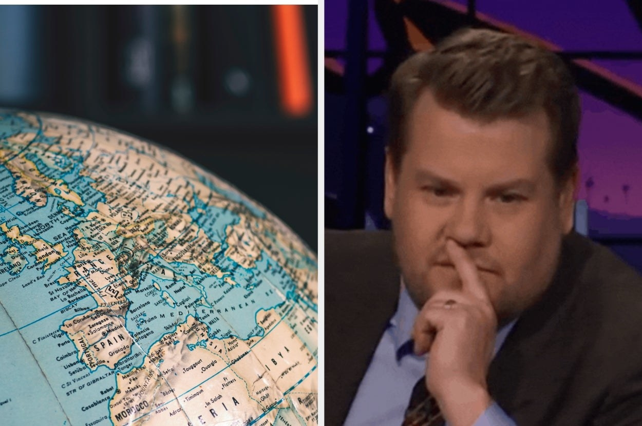 """Globe with Europe facing it and James Corden from """"The Late Late Show with James Corden"""""""