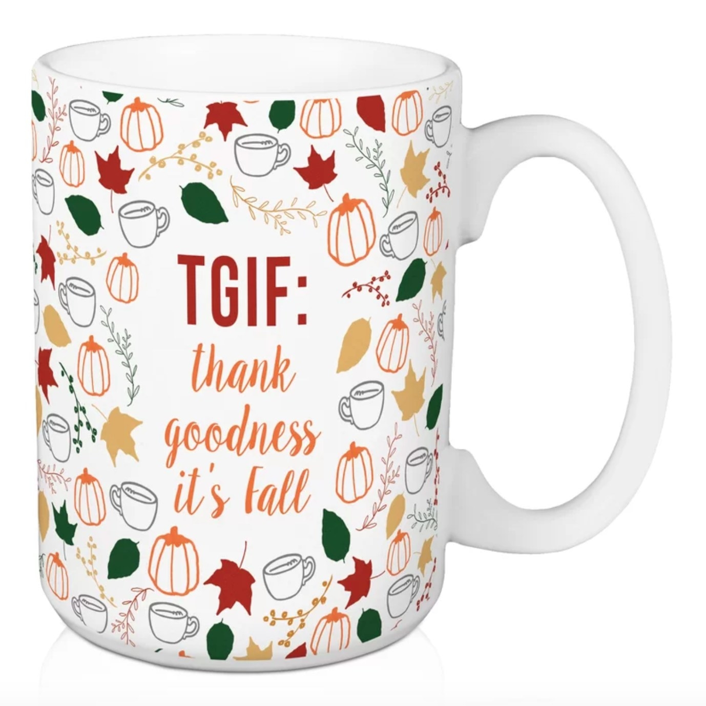 The 'Thank Goodness It's Fall' Coffee Mug in white with colorful seasonal decor