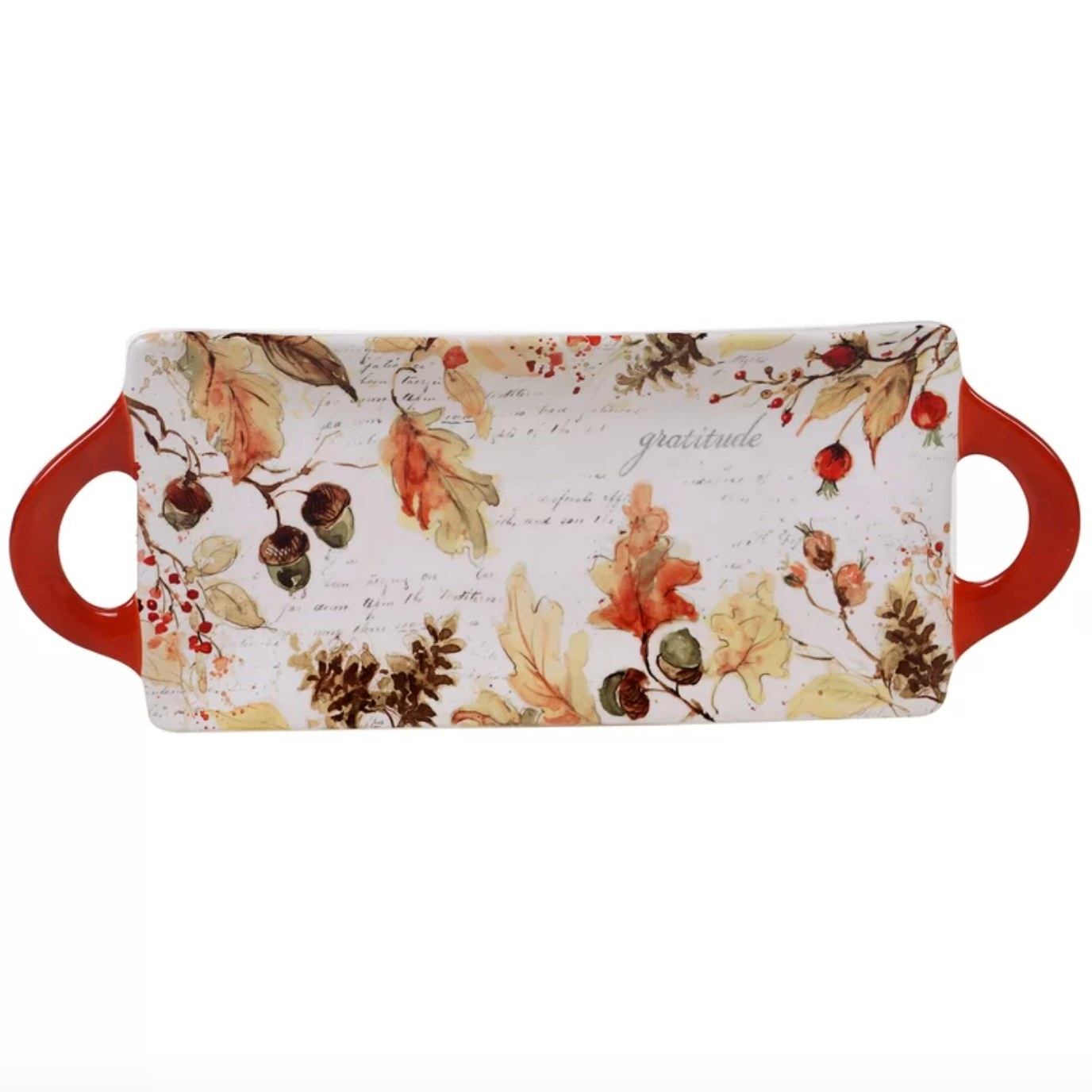 The rectangular tray with a fall motif with leaves and pinecones