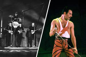 The Beatles performing next to a close-up of Freddie Mercury singing