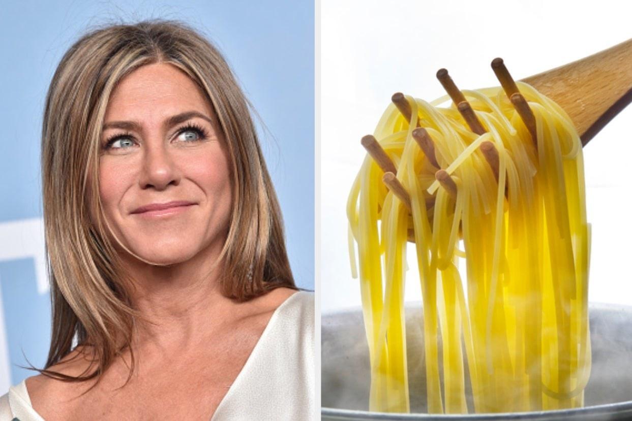Jennifer Aniston and boiled spaghetti