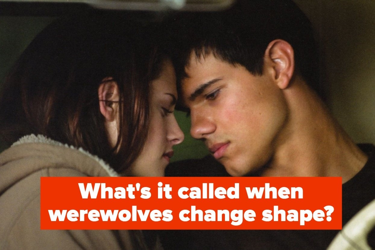 """Bella and Jacob leaning in to kiss in """"Twilight"""" with the words """"What's it called when werewolves change shape?"""""""