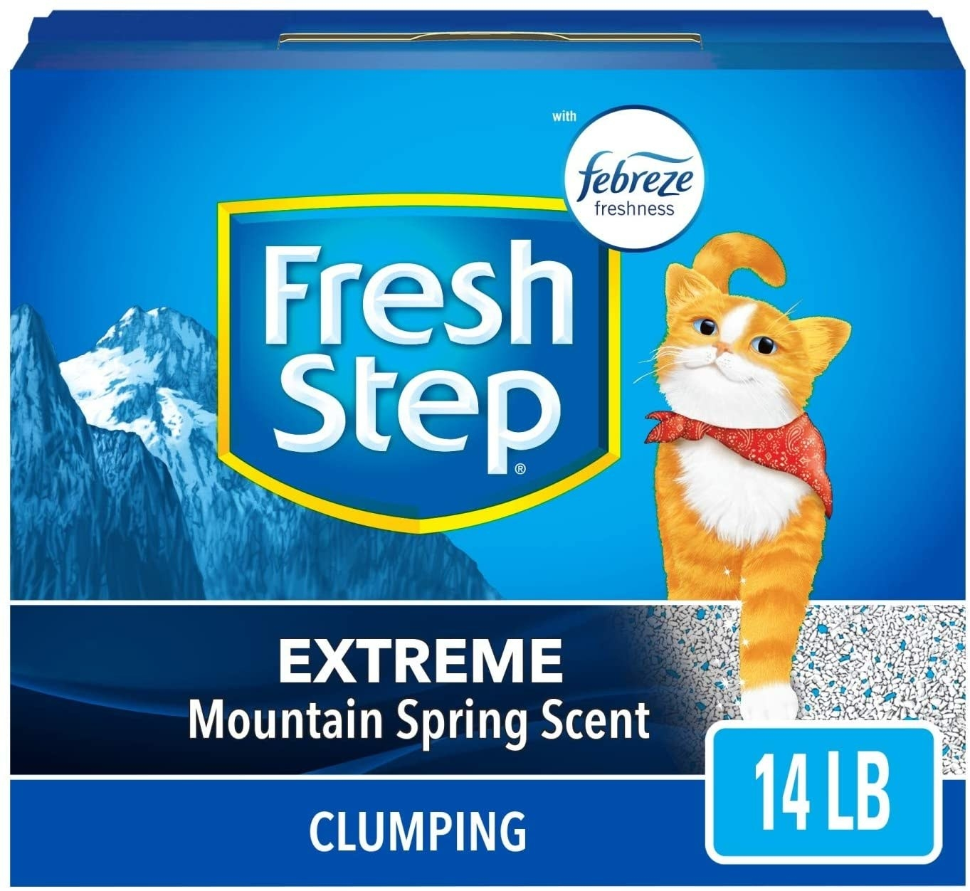 The blue-boxed clumping cat litter