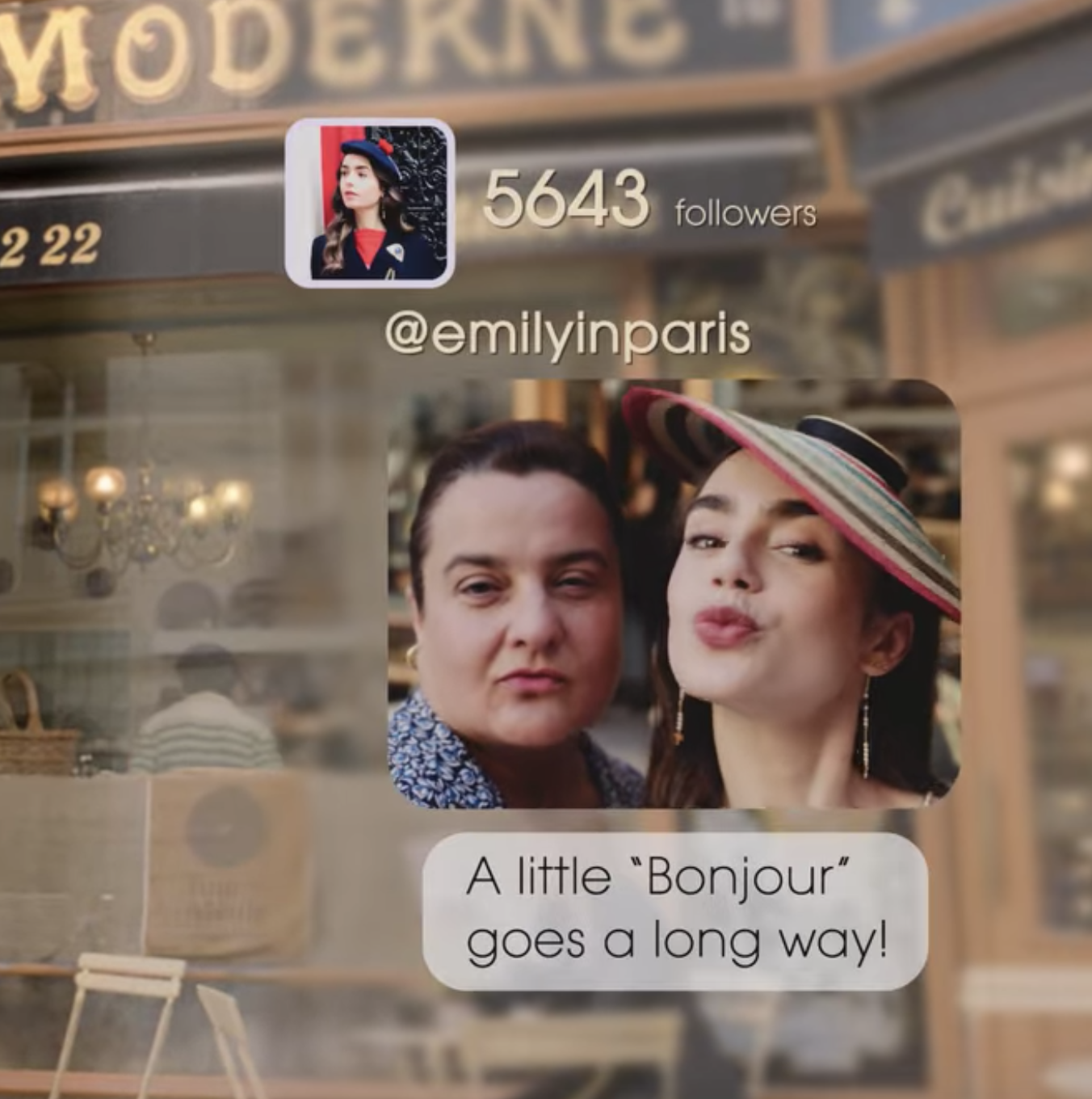 """A selfie of Emily and the woman who works at the bakery that's captioned, """"A little 'Bonjour' goes a long way!"""""""