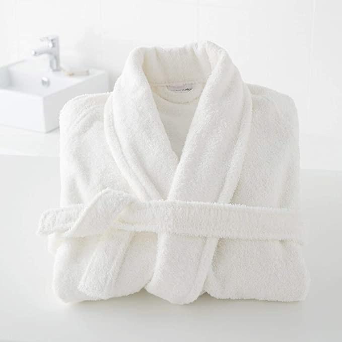 White bathrobe.