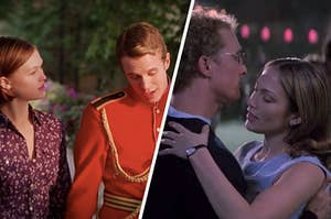 Movie scene where Julia Stiles' character walks next to a man wearing a royal uniform, paired with movie scene where Matthew McConaughey's character is dancing with Jennifer Lopez