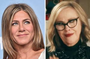 "Jennifer Aniston and Moira Rose from ""Schitt's Creek"""