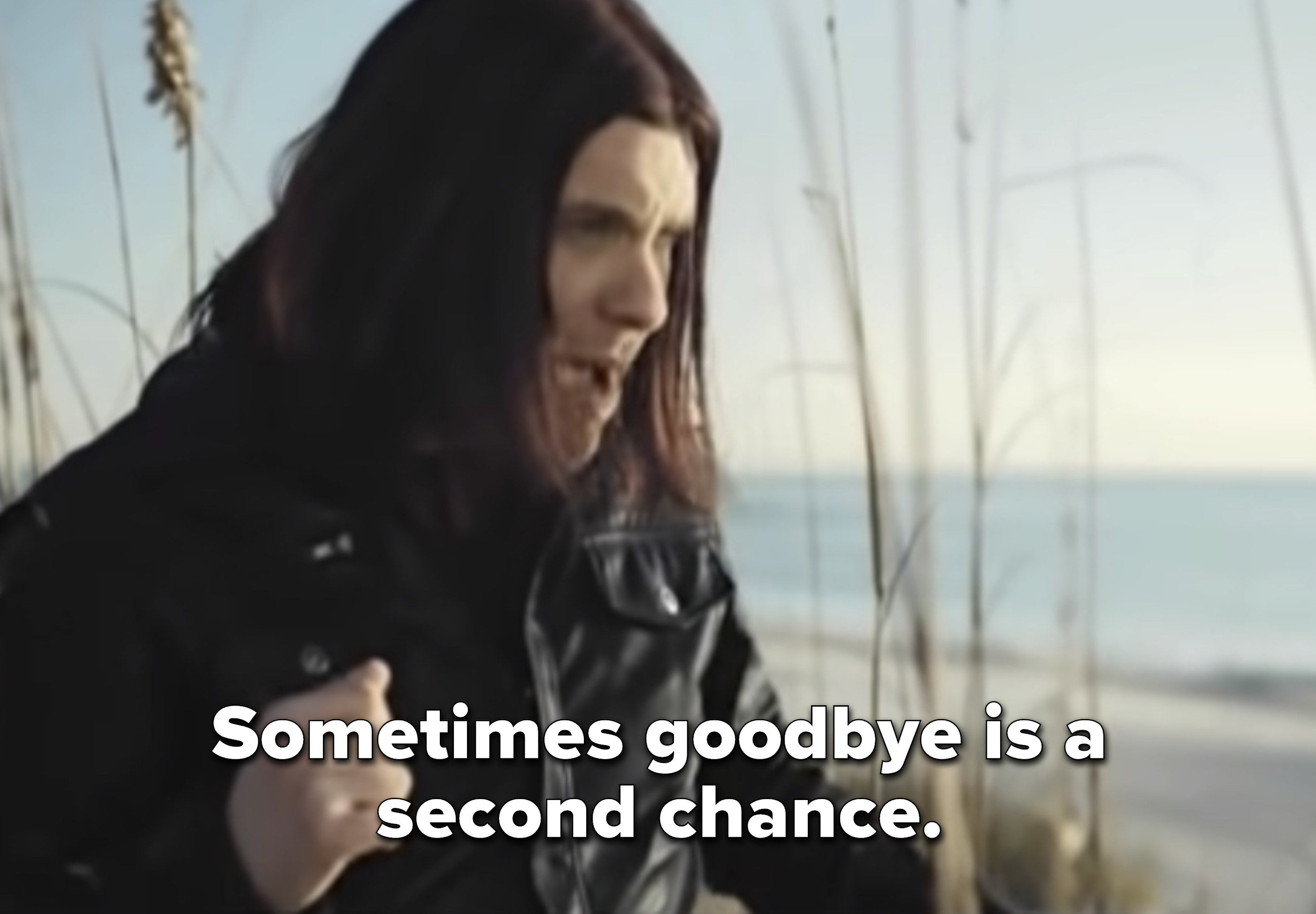 """Brent Smith singing """"Sometimes goodbye is a second chance"""" above a beach"""